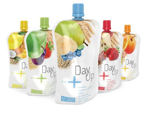 Day Up is a mix of fruit mousse, yogurt and cereals. Our studio is responsible for naming, logo and packaging design.