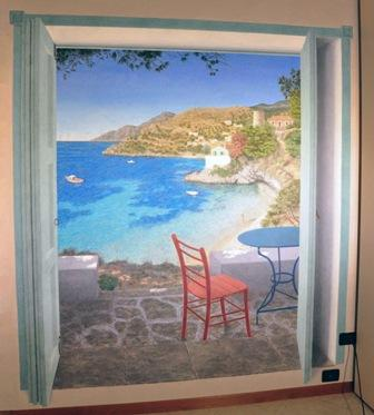 Greek island trompe l'oeil
