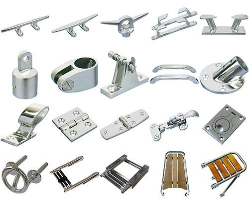 Dawn Marine manufacturers stainless steel boat parts and deck hardware. including cleats, chocks, bollards, bimini top hardware, handrails, rail fittings, hinges, cabinet hardware, ladders, platforms.