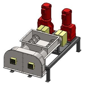 Mit der Doppel-Scheibenmühle HSMD-300 können unter anderem Mineralwolle, Steinwolle, Glaswolle, Glasfasern und Glas gemahlen werden. Durchsatzleistung von über 1000kg/h.