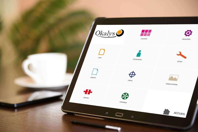 Okalys est un book de vente tactile permettant de créer des scénarios de vente pour développer votre business. Fonctionne sur toutes tablettes, matériels et systèmes d'exploitation.