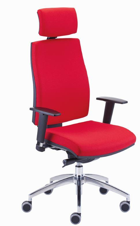 swivel; synchro mechanism with integrated seat slider (ST); tension adjustment; base – polished aluminium; headrest (Z); upholstered backrest.
