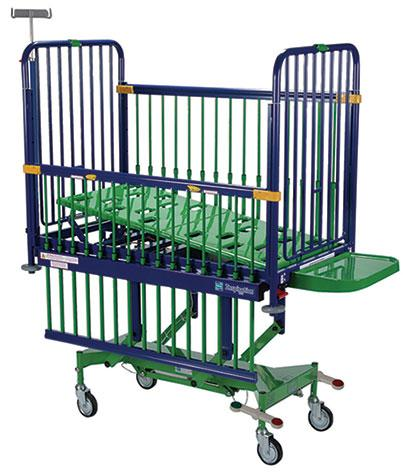 Electrically operated, variable height cot with two-way tilting mattress platform, removable head & foot ends allowing 360 degrees access when the siderails are lowered.