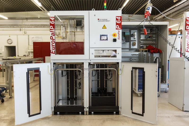 modular automation bietet ein umfangreiches Sortiment an Palettierern in verschiedenen Größen. Das Standard-Logistikmodul ist auch erhältlich mit integriertem Handling oder Schwenkarmroboter.