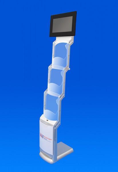 Unsere eigens entwickelte Infostele mit einem digitalem LED-Display (33,8 cm diagonal) und 4 Fächern für DIN A4. Aufgrund der Faltbarkeit ideal für Messen und Events vorgesehen.