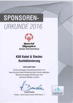 Sponsoren-Urkunde 2016