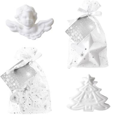 shape: angel, star, snowflake, christmas tree  / Fragrance: White Tea