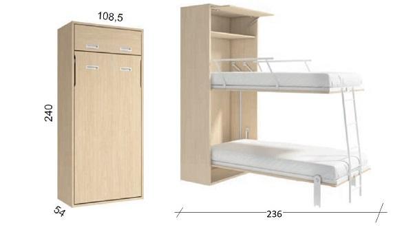 Litera abatible vertical con patas automáticas, armarito encima, escalera y barreras, de mueblesnoel.com