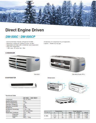 Мы предлагаем холодильные установки Dongin Thermo на лучших условиях. Для объема фургона от 23-33 м³ устанавливается модель DM500S, способная создать температуру от 0°C до -20°C.