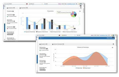 Interactive dashboards that present relevant indicators of the company filtered by: - Week/month/quarter/semester/year/financial year and other periods - Client/Vendor/Country