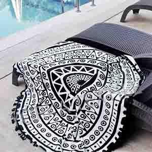 Mandala black white round beach towel with black fringes.