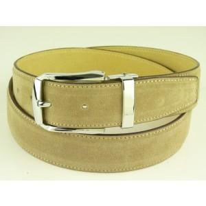 Suede Apricot Leather Belt with Pin Buckle