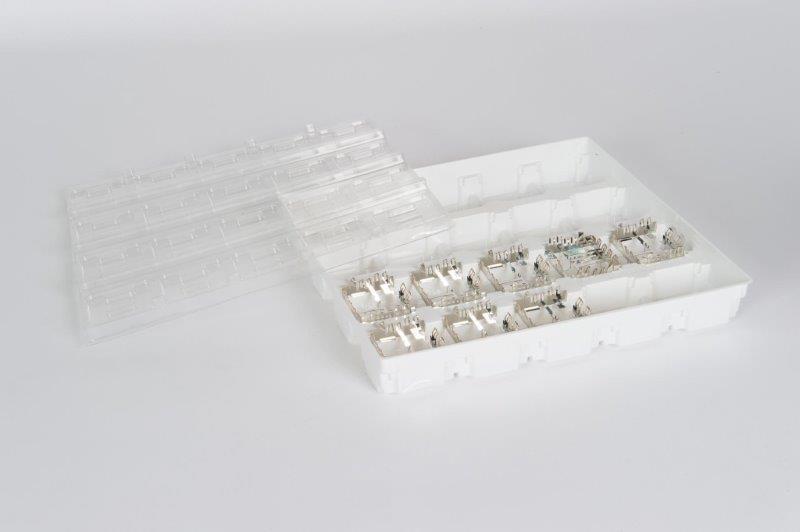 Zum Transport Ihrer Fertigerzeugnisse. Zum Schutz, hier mit einem transparenten Deckel.