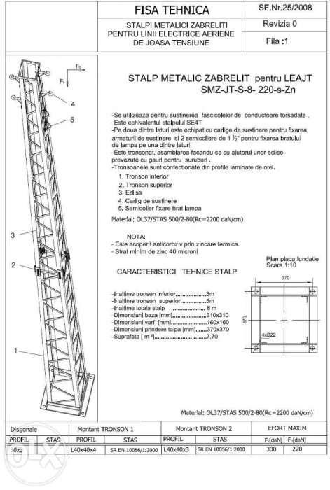 Metallic pillar for Low Voltage overhead lines