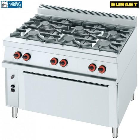 Cocina a gas de 6 fuegos con horno