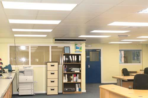 Part of the Zeta Commercial and Industrial Lighting range, our Ultra Slim Ceiling Panels feature here in the admin area of our Bicester HQ.