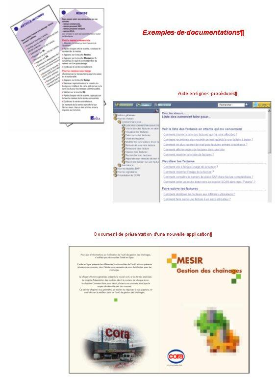 Documentations (papier, fiches, aide en ligne) pour une application informatique