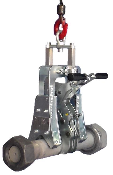 HandlingProfi entwickelt Greifer und Lastaufnahmemittel nach Kundwunsch und stellt sie selbst her. Zum Beispiel: Rundmaterial-Greifer für große Schrauben