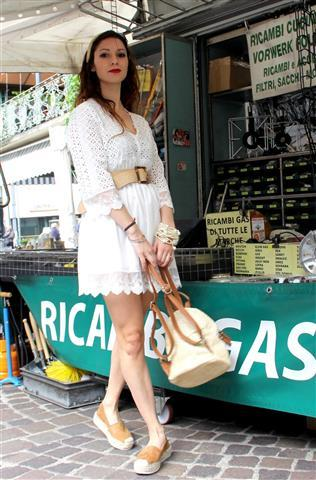 Lace short dress with belt and backpack