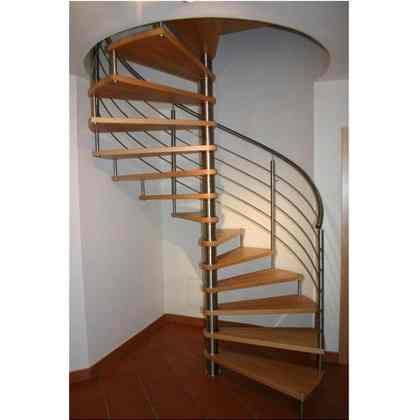 Escalier en colimaçon, pilier central en inox, marches en hêtre avec fixation invisible ; Garde-corps en inox, tubes ronds pour les piliers et la rampe de 42,4 mm, garniture horizontale avec tube rond