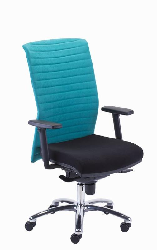 swivel; synchro mechanism (S); seat slider (T); tension adjustment; chrome base; upholstered backrest.