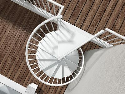 Escalera de caracol modular Modelo AKUA de ENESCA  adaptable para interiores y exteriores compuesta por peldaños, eje y barrotes metálicos y pasamano sintético.