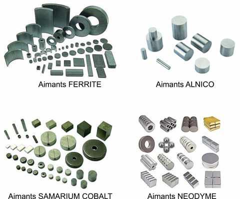 Aimants Néodyme, Samarium cobalt, Alnico, Ferrite
