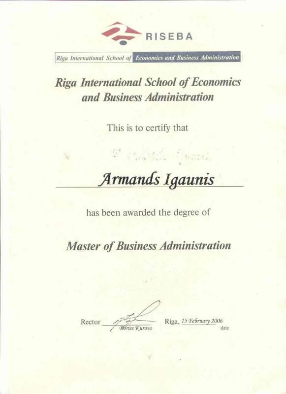 Certify of MBA