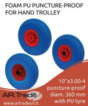 Polyurethane foam wheels for hand trolley and wheelbarrow. Ask for more informations: www.artradesrl.it