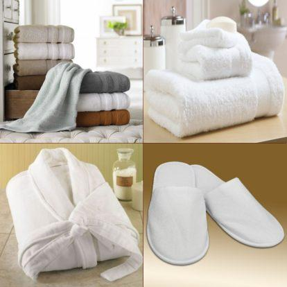 Hotel bath linen - Portuguese producers of certificated and personalized bath towels, pool towels, bathrobes and room slippers. Different colors including white.