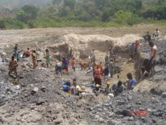 Local Miners working at the local gold mining site in Bertoua East region Cameroon