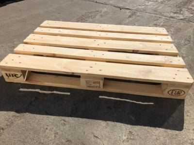 EURO pallets produced according to the UIC 435-2 technical regulations. 800x1200 mm, 4 way entry, heat treated and certified, meet phytosanitary requirements ISPM15/IPPC. Load weight 1500 kg