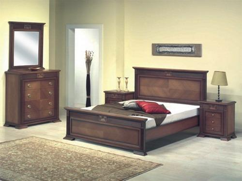 Bedroom set with walnut finish handcrafted marquetry design