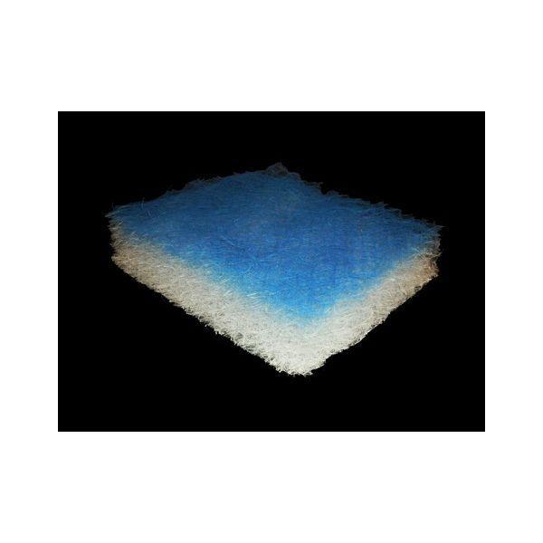 Media filtrante a densità progressiva in fibre di vetro impregnata con gel. Consigliata per la filtrazione di over-spray di vernici a base d'acqua. Lo spessore del materassino è 75 mm.