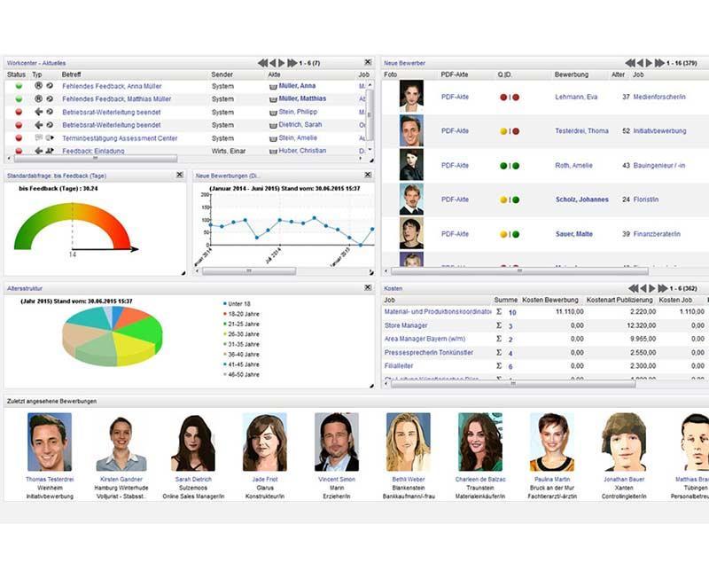 Die Bewerbermanagement Software verfügt über ein Dashboard, auf dem sich jeder User individuell Informationen zusammenstellt. So haben Sie jederzeit Überblick über Aufgaben, Bewerber oder Kennzahlen.