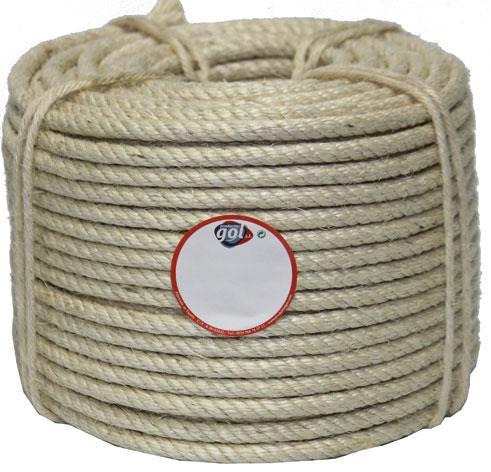 Hilo cableado 4 cabos. Excepto 4 mm. cableada 3 mm. Fibra biodegradable, no posee elásticidad. Agricultura, ganadería, construcción, pesca, decoración, etc. Calibre: 4 mm hasta 36 mm. rollo y carrete