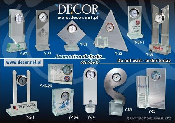 Zegary promocyjne lub okazjonalne z grawerem lub nadrukiem. Engraved or with Photoprint