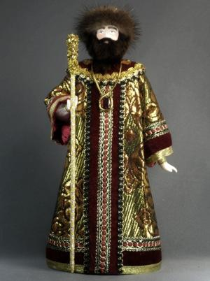 Russian king. Structure: porcelain, textiles. Height is 27 cm.
