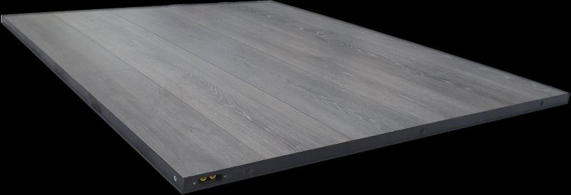 Hot Pad gray oak finishing, stylish, indoor heating application, for churches, coworking spaces and any other uses...