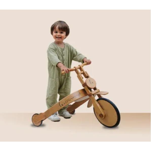 Pousseur en bois forme moto