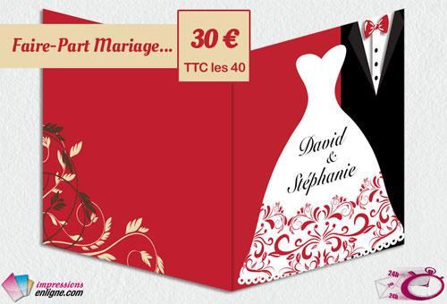 Imprimerie en ligne - faire part de mariage - tous les prix indiqués sur notre site internet sont frais de port inclus