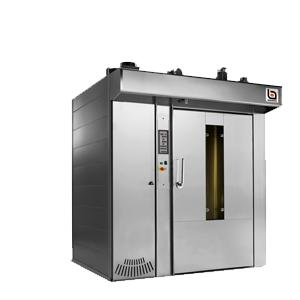 The rotating rack oven is a convection oven with forced air circulation. Roller has a frontal burner and heat exchanger to satisfy specific operation and positioning requirements.