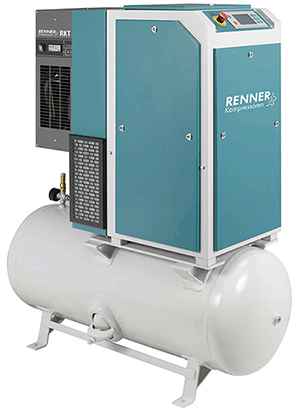 Screw compressor with refrigeration dryer, mounted on air receiver