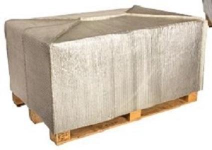 Funda de pallet hecha de dos capas de metalizado y una de burbujas, para la conservación de temperatura de producto perecedero durante el transporte. Pónganse en contacto con nosotros!