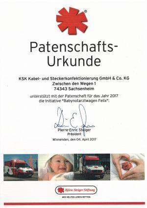 Patenschafts-Urkunde 2017