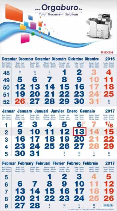 calendrier 3 mois