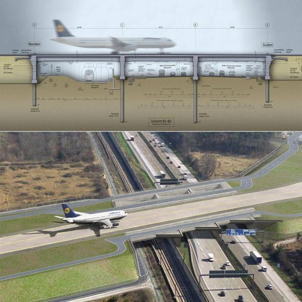 Five different taxiway bridges were constructed.These taxiways carry the aircraft over a high-speed rail line, the A3 autobahn and local and service roads.