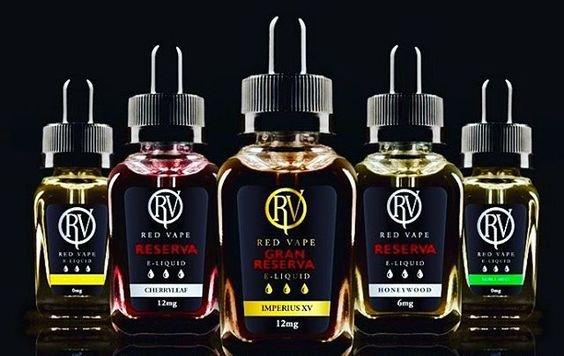 Five of the Red Vape range of eliquids. Our bottles are of a square glass design with a safety cap as standard.