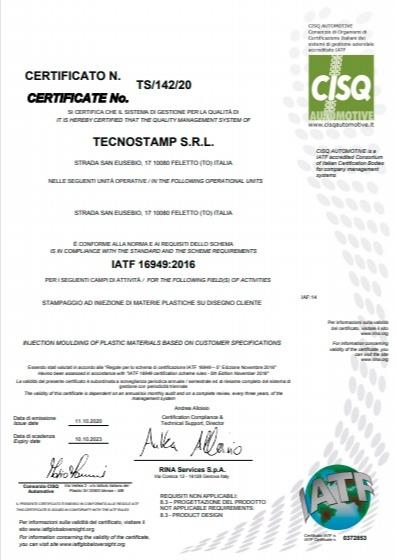 TECNOSTAMP SRL has obtained the quality certification IATF 16949: 2016