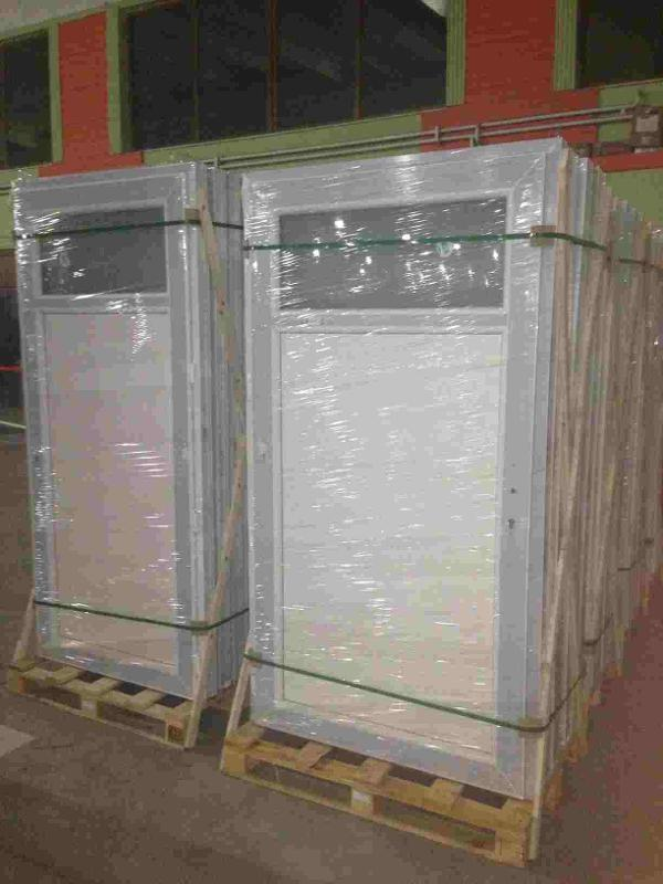 Economic PVC door with flat panel and double glass for Europe market.